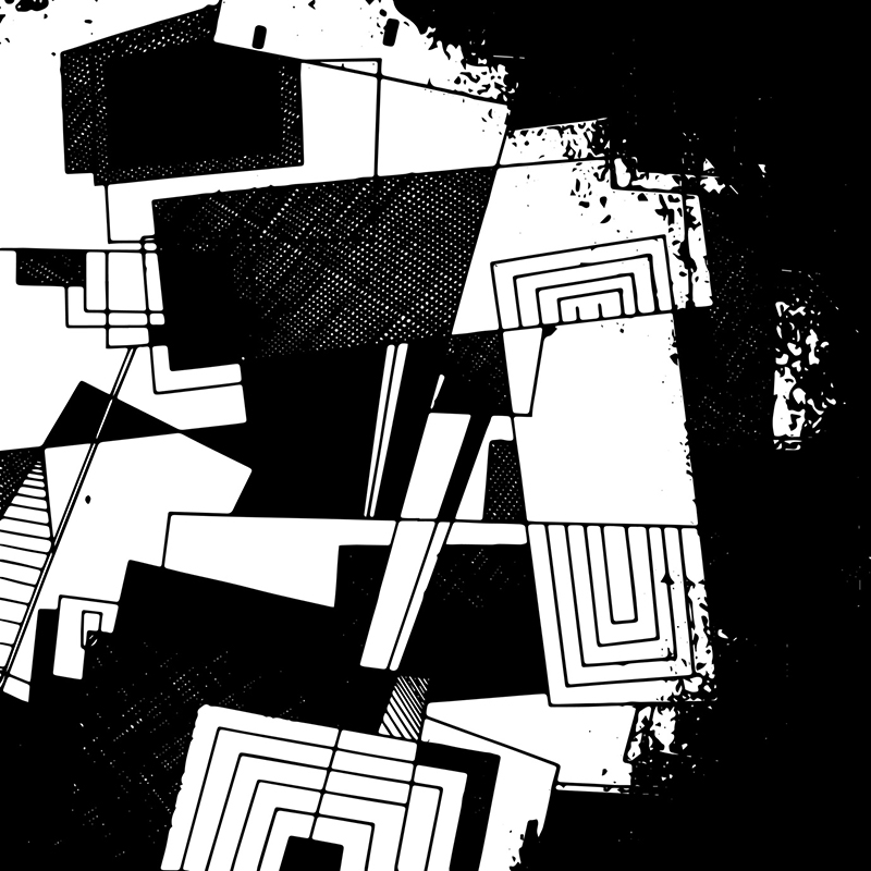 Abstract geometric background, geometric design, monochrome ink drawing